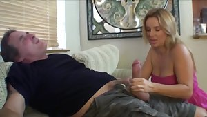 Mustached man receives a blowjob by stepdaughter with the addition of his wed