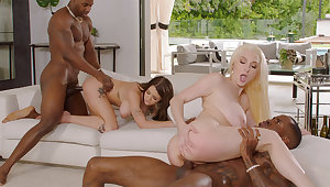 Insatiable sweeties with their idols in four way fuckfest
