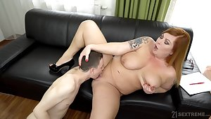 Chubby woman spreads legs for a young boy there bonk her