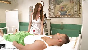 Posh nurse in uniform and stockings Alice Romain gives a blowjob and gets their way anus fucked
