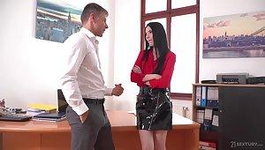 Lustful copyist Veronika masturbates pussy in the boss's office