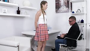 Tutor getting into his student's camiknickers coupled with that coed is horny as fuck