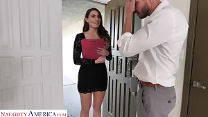 Leggy secretary Ella Reese seduces married brass hats and bangs him in his house
