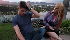 Mom's best friend Joclyn Stone gives beyond the shadow of a doubt blowjob and rides a unearth