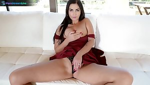 Amazing wife Loren Minardi drops on will not hear of knees to take his cock in will not hear of mouth
