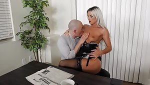 Sexy blonde maid likes fucking with the master when his wife is snivel home