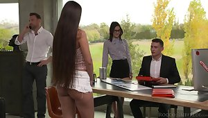 Warmed up with some anal slutty cowgirl Mina K takes duplicate penetration