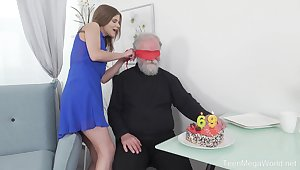 Old vs young porn with an dirty elderly perv coupled with small tits Sarah Kay