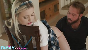 Adult stepdaughter Aria Banks is tied up and fucked unconnected with horny stepdad