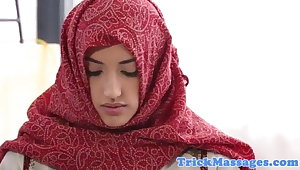 Arab teen yon hijab came to knead