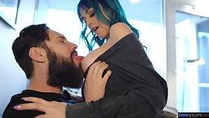 Blue haired chick Jewelz Blu is fucked by bearded boyfriend