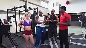 BBC gangbang at the gym with beautiful dame Chloe Temple