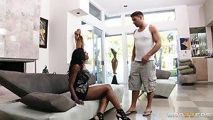Interracial fucking relating to ebony model Diamond Jackson in high heels