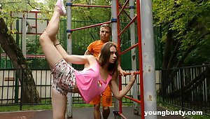 Flexible truly order about teen gets fucked after some nice street aerobics