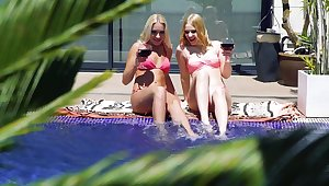 Aroused blondes enjoy their holiday fucking all steady old-fashioned long